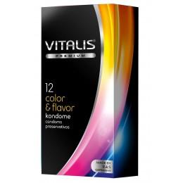 Цветные ароматизированные презервативы VITALIS PREMIUM color & flavor - 12 шт.