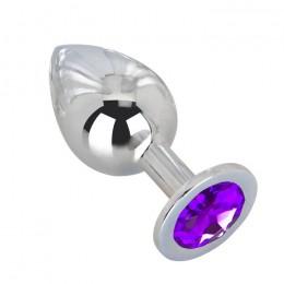 Большой плаг из стали с фиолетовым кристаллом Violet Dream - 9,5 см.