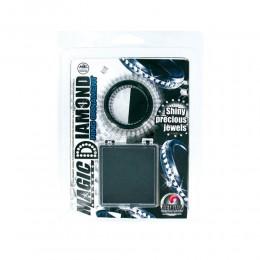 Чёрное эрекционное кольцо со стразами MAGIC DIAMOND