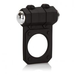 Чёрное эрекционное кольцо с вибропулей Silicone Lovers Gear Enhancer