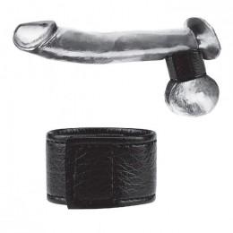 """Чёрная утяжка на мошонку 1"""" Velcro Ball Stretcher"""