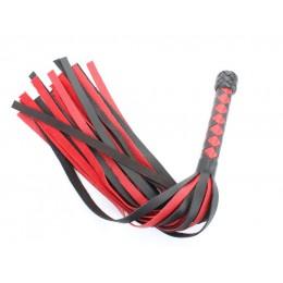 Черно-красная плеть с плетеной ромбовидной ручкой - 58 см.