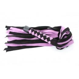 Черно-розовая плеть из замши - 58 см.